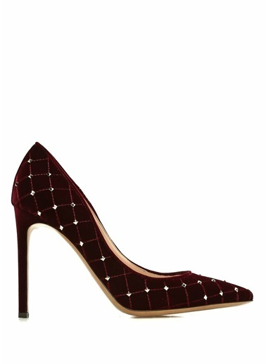 Valentino Kadife Stiletto Bordo